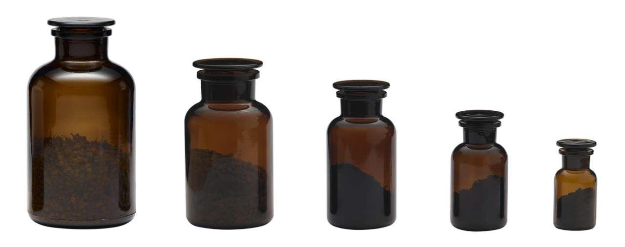 Pure Nature Apothekerglas braun - Apothekerflasche mit geschliffenem Glasstopfen