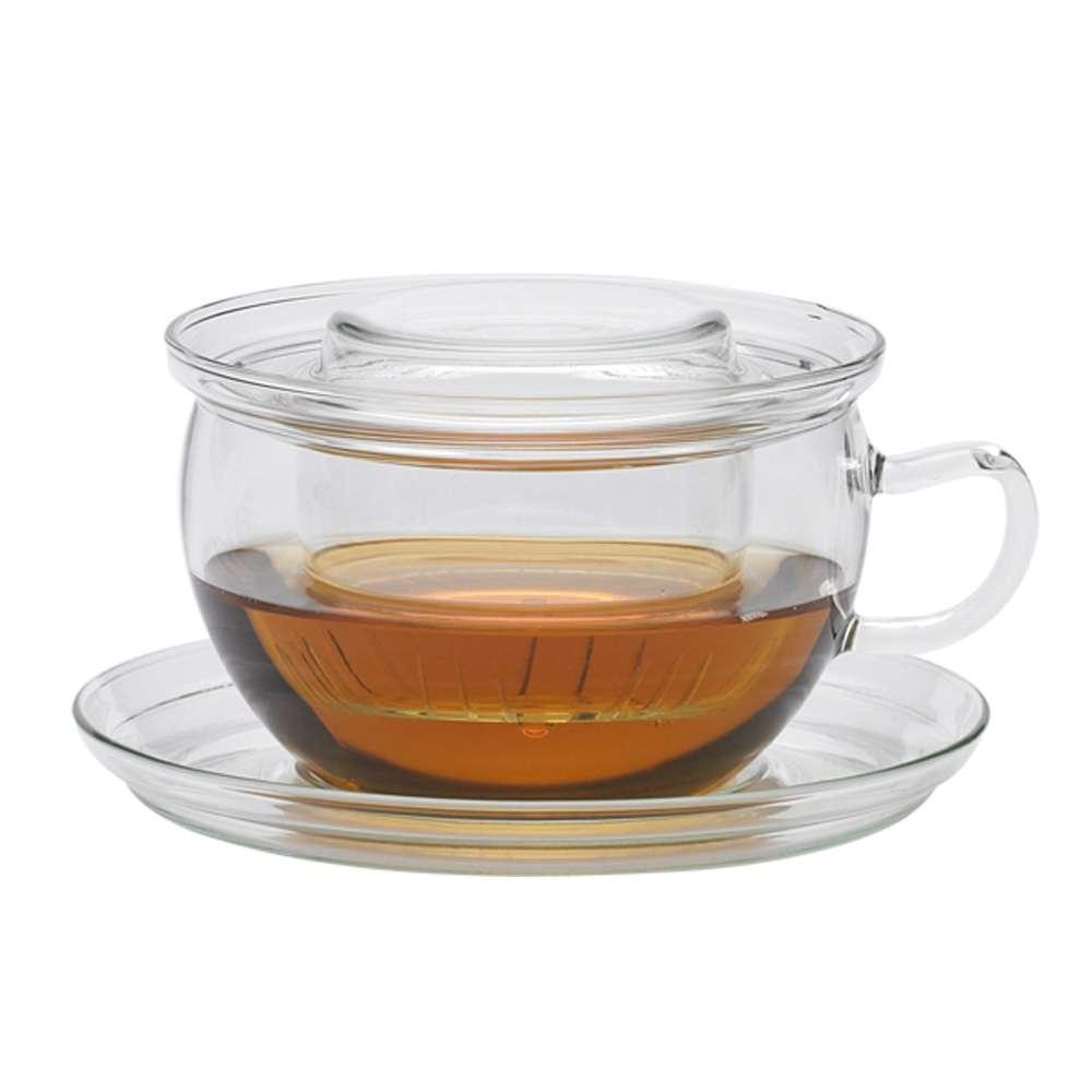 Trendglas Jena Teetasse Tea Time aus Glas mit Sieb und mit Deckel