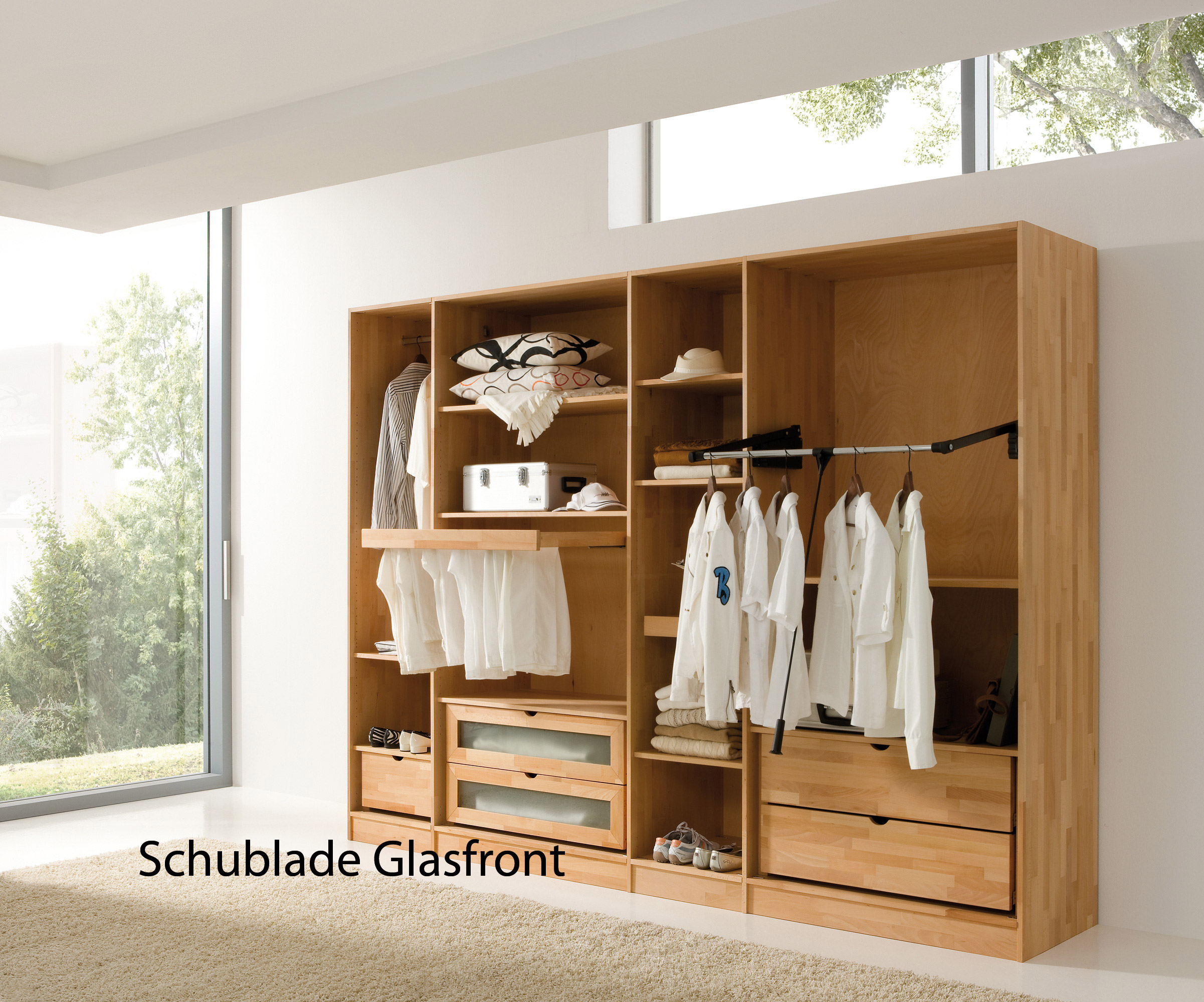 schublade f r kleiderschrank mit einsatz aus satiniertem glas purenature. Black Bedroom Furniture Sets. Home Design Ideas