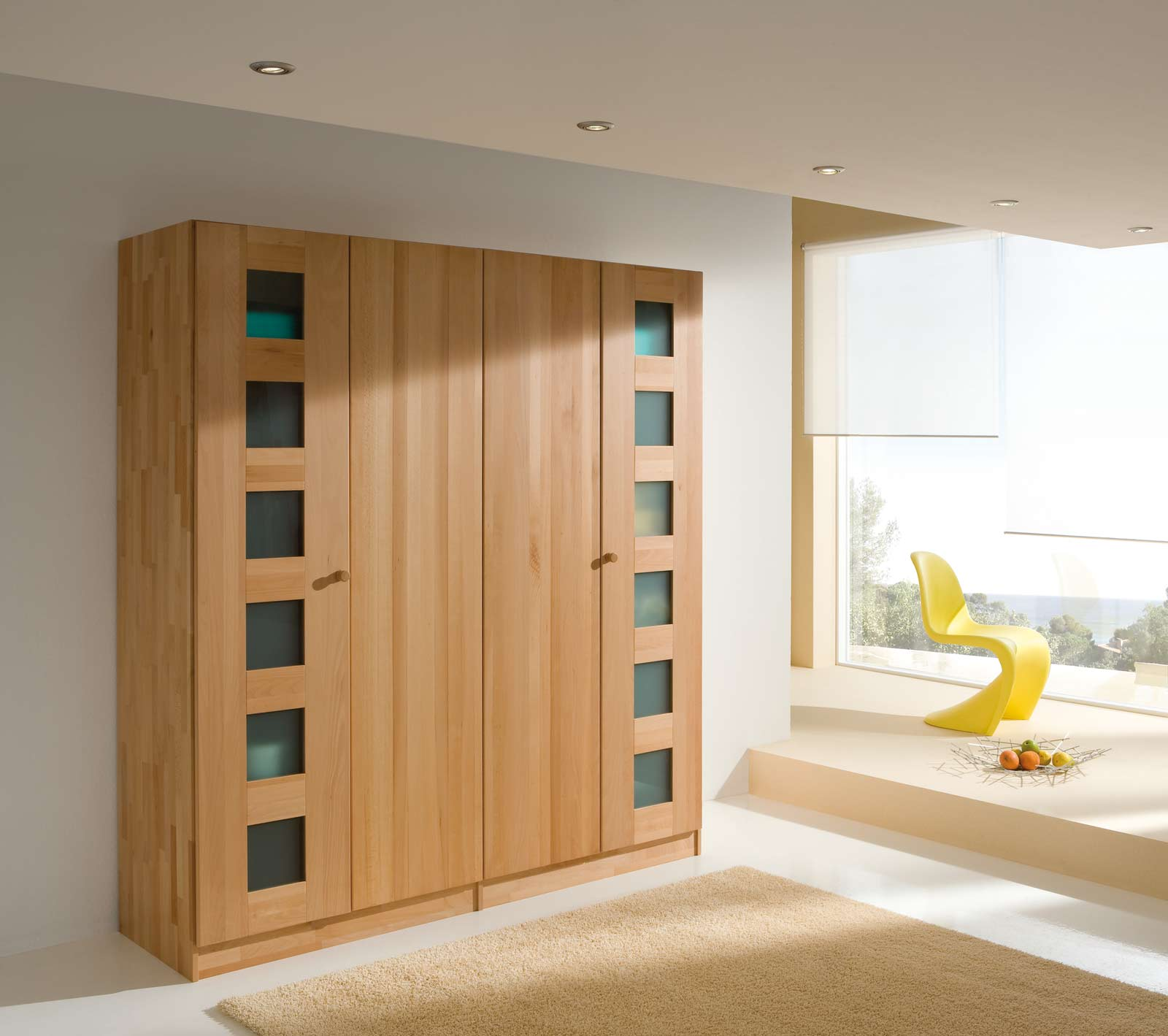santo kleiderschrank echtholz mit t ren aus holz und glas purenature. Black Bedroom Furniture Sets. Home Design Ideas
